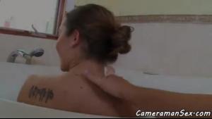 Sensual ebony amateur fucked in the bathroom