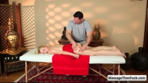 Flexy blonde woman got a relaxing massage and a rounded ass to amuse her boyfriend