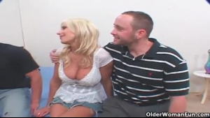 Nasty blonde milf gets fucked by a cock