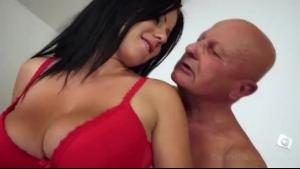 A busty milf sucking a grandpa