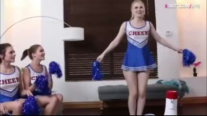 Cheerleaders have group gay sex