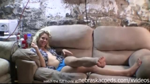 Shy blonde babe, Alison is satisfying her step- brother in the basement instead of her boyfriend