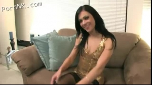 Dark haired, ebony fuck doll is wearing nothing but black sandals with high heels while cheating