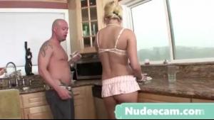 Blonde masseuse slut fucked in the kitchen