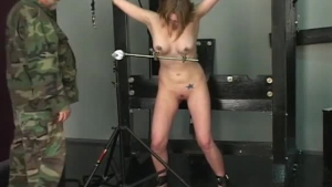 European blonde is playing with her massive tits while no one is watching her in action
