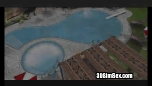 Fit brunette is about to get fucked next to a swimming pool, until she cums